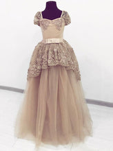 Princess Tulle Beaded Layered Long Ball Gown Cinderella Prom Dresses OP842