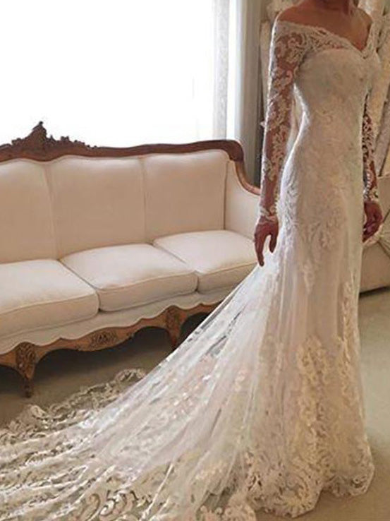Long Sleeves Off-Shoulder Sheath/Column Lace Wedding Dresses OW184