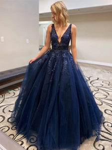 A-line V Neck Appliques Navy Blue Prom Dresses, Navy Blue Long Evening Dresses PO433