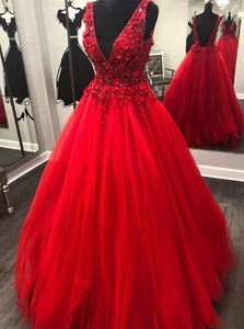 V Neck Beading Red Lace Floral Long Prom Dresses, Gorgeous Red Evening Dresses PO432
