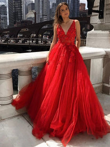 A Line V Neck Red Lace Long Prom Dresses, Lace Appliques Formal Dresses, PO430