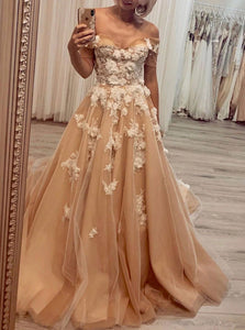 Off Shoulder Tulle Long Prom Evening Dresses 3D Flowers Appliques PO066