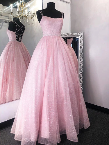 Shiny Backless Long Prom Dresses, Pink Formal Evening Dresses PO390