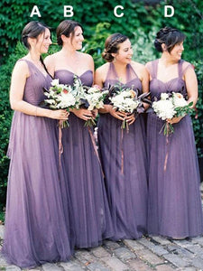 A-line Sleeveless Tulle Long Convertible Lilac Bridesmaid Dresses OB385
