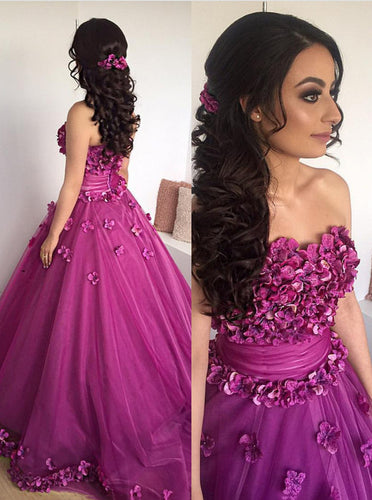 Sweetheart Prom Dresses Long Ball Gown 3D Appliques Quinceanera Gown PO254