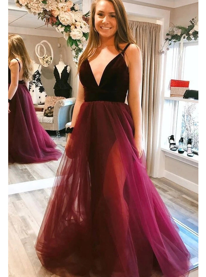 Tulle V-neck Long Prom Dresses A-line Backless Party Dresses With Split PO187