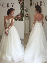 Long Sleeves A-Line/Princess Organza Off-Shoulder Wedding Dresses OW186