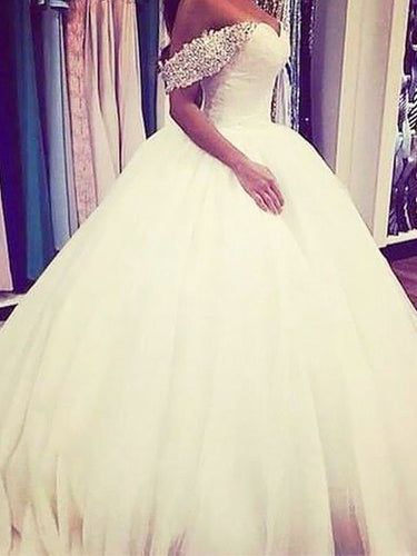 Off-Shoulder Sleeveless Beading Ball Gown Tulle Wedding Dresses OW187