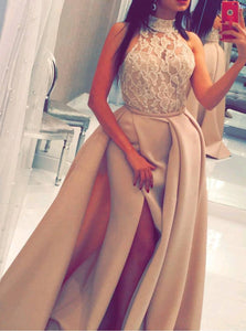 High Neck Satin Mermaid Prom Evening Dress with Beading Split PO032