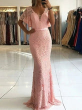 Cheap Mermaid V Neck Short Sleeve Beaded Lace Long Prom Dresses PO332