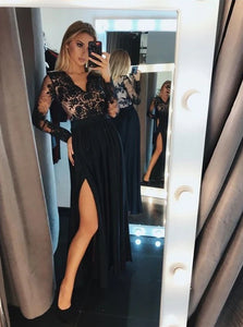 Long Sleeve Lace Black Long Prom Dresses A-line Evening Gown With Split PO323