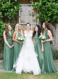 Maxi V-Neck Green Long Convertible Bridesmaid Dresses OB366