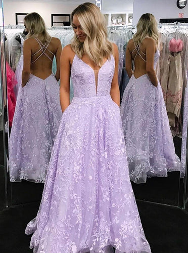 A-line Long Lilac Lace Prom Dresses Backless Formal Gown With Pockets PO336