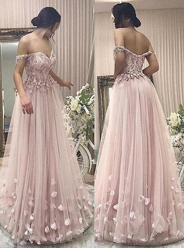 Off-The-Shoulder Pearl Pink Tulle Prom Dress With Appliques Beading PO251