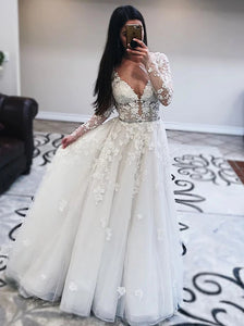 Princess Tulle Long Sleeves Wedding Dresses With Appliques OW585