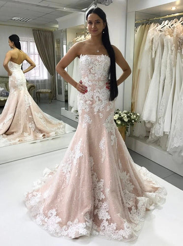 Strapless Bridal Gown Lace Appliques Mermaid Wedding Dresses OW701