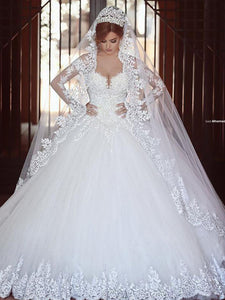 Cheap Long Sleeves Off-Shoulder Ball Gown Tulle Wedding Dresses OW188