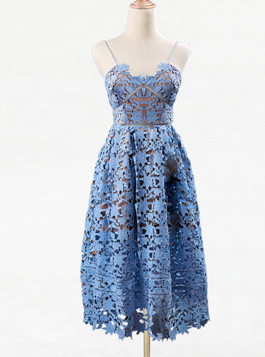 Spaghetti-straps Lace Short Prom Dress, Lace Blue Homecoming Dresses OM481