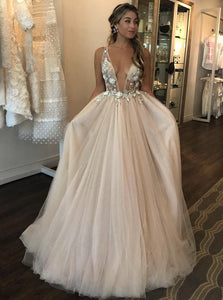 See Through V Neck 3D Flowers Beads Beach Wedding Bridal Gowns OW677