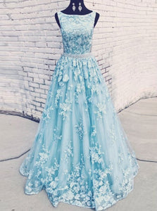 Round Neckline Sky Blue Tulle Appliques Long Prom Dresses With Beading PO297