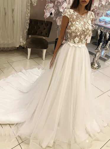 Round Neck Tulle Lace Appliques Long Wedding Dresses With Cap Sleeves OW676