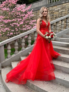 Red V-neck Tulle Long Prom Dresses Backless Long Evening Dress PO295