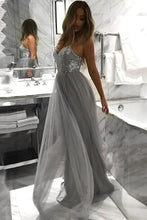 Spaghetti Straps V-neck Tulle Grey Long Prom Dresses With Sequins PO035