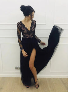 A-Line Lace Long Sleeves Tulle Floor Length Black Prom Dress PO348