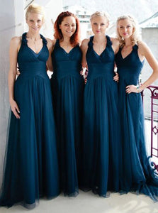 Hand-make Flowers Halter Tulle Long Teal Bridesmaid Dresses OB362
