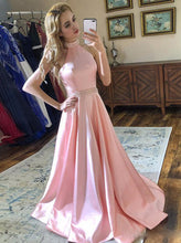 A-line Halter Pink Satin Prom Dresses, Backless Formal Party Gown PO229