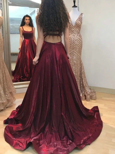 A-line Burgundy Prom Dress with Pockets, Straps Long Formal Gown PO292