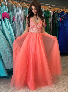 A-line V Neck Tulle Coral Long Prom Dresses With Lace Applique PO322