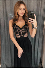A Line V Neck Black Lace Prom Dresses, Black Evening Dresses PO107