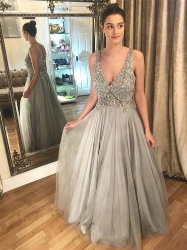 A Line V Neck Long Tulle Prom Dresses Beaded Grey Evening Dresses PO334