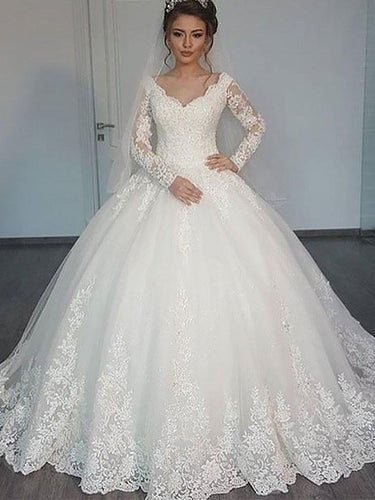 Cheap Long Sleeves V-neck Ball Gown Tulle Wedding Dresses OW189