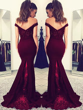 Satin Mermaid Off-the-Shoulder Sleeveless Floor-Length Lace Evening Dresses from ombreprom.co.uk