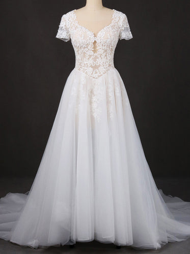 A-line Short Sleeves Lace Appliques Wedding Dress Keyhole Back Bridal Gown OW570