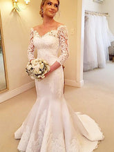 3/4 Sleeves Lace Off-Shoulder Trumpet/Mermaid Satin Wedding Dresses OW191