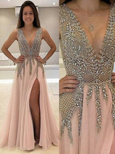 Sexy A Line V Neck Beads Open Back Tulle Slit Prom Dresses OP254