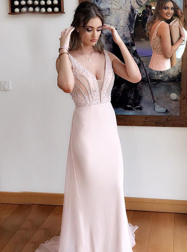 Deep V-Neck Chiffon Sheath Pearl Pink Prom Dress with Beading OP303