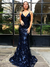 Spaghetti Straps Mermaid Tulle Sequined Backless Prom Dress OP270