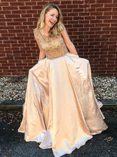 Glamorous Scoop Floor-Length Beading Satin Prom Dress with Pockets OP273
