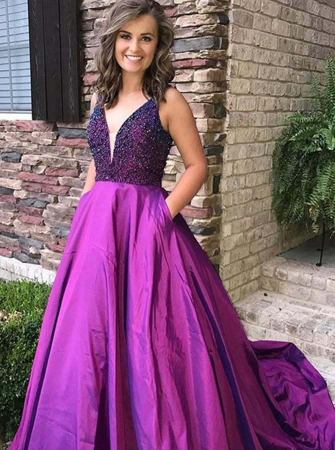 Modern A-Line V-Neck Satin Beading Long Prom Dress with Pockets, OP281