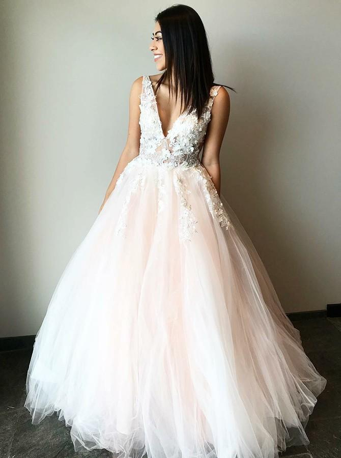 Stunning Wedding Dress A-Line V-Neck Tulle Prom Dress with Appliques, OP282