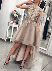 A-Line Round Neck Tulle High Low Asymmetry Prom Dress with Appliques OM414