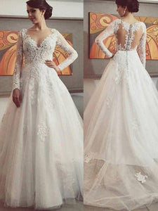 Charming Vintage Lace Long Sleeves Ball Gown Tulle Wedding Dresses OW195