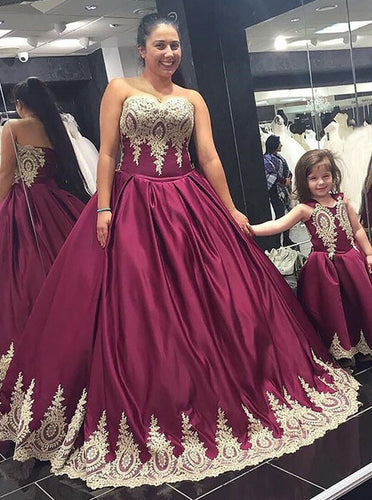 Sweetheart Appliques Long Plus Size Ball Gown Prom Dresses OP267