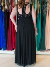 Lace A-Line Round Keyhole Back Long Chiffon Plus Size Prom Dress OP259