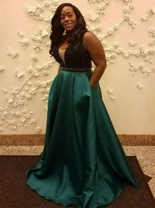 Elegant A-Line V-Neck Beading Satin Long Plus Size Prom Dress With Pockets OP258