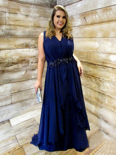 A-Line V-Neck Beading Waist Ruched Chiffon Plus Size Prom Dress OP264